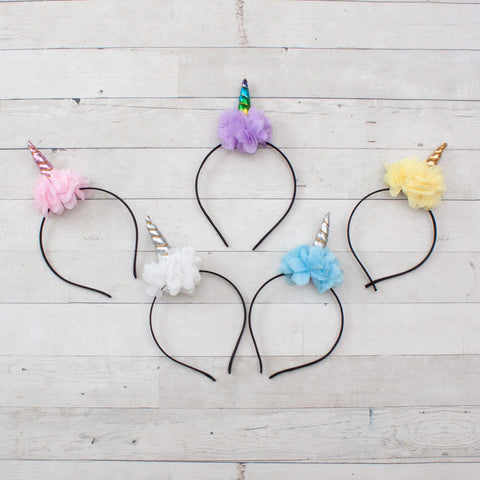 Chiffon Flower Unicorn Headbands - Set of 5