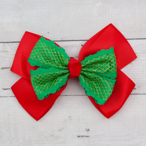 "6"" Grosgrain Double Layer with Shimmer Mesh Hair Bow - 3 Colors"