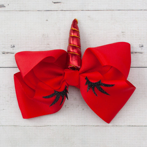 "6"" Sleeping Unicorn Christmas Hair Bows - 3 Colors"