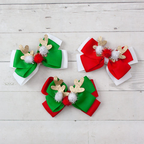 "6"" Grosgrain Christmas Hair Bow with Reindeer Center - 3 Colors"