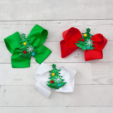 "6"" Grosgrain Christmas Hair Bow with Christmas Tree Embellishment - 3 colors"