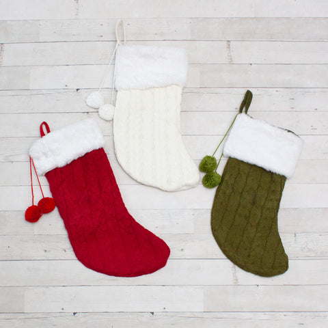 Cable Knit Stockings with Fur Trim - 3 Colors
