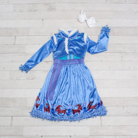 Character Inspired Princess Dress - Cornflower Blue with White Fur Trim