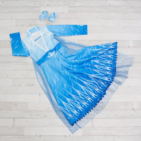 Character Inspired Princess Dress - Ice Blue & Sky Blue