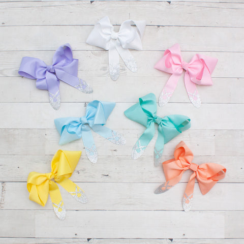 "6"" Grosgrain Hair Bow with Ballet Slipper Detail - 7 Colors"