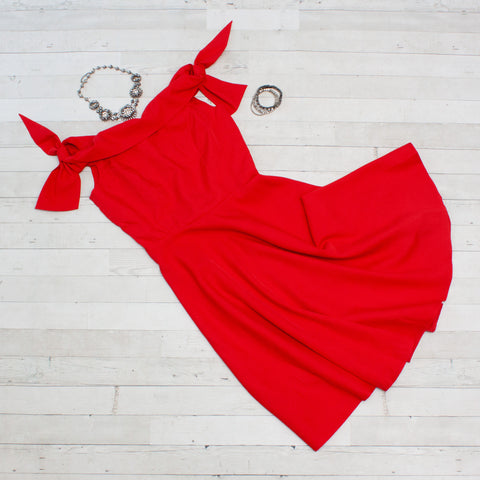 Off Shoulder Red Event Dress
