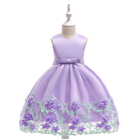Special Occasion Dress - Satin and Tulle Dress with Flowers & Vines - 3 Colors