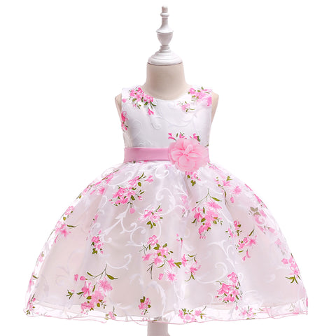 Special Occasion Dress - White Satin Dress With Pink Flowers