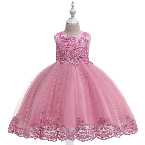 Special Occasion Dress - Satin and Tulle Dress with Lace Detailed Applique - 2 Colors