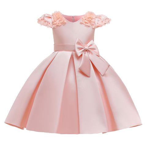 Special Occasion Dress - Pink Satin With Bow at Side Waist