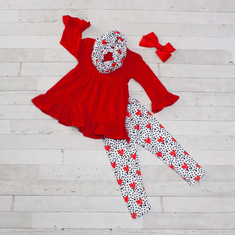 Red Heart & Polka Dot Tunic Set - Top, Pants & Scarf