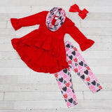 Red & Pink Heart Tunic Set - Top, Pants & Scarf
