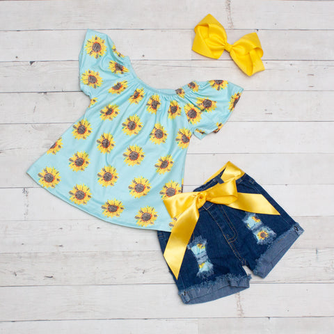 Aqua and Sunflower Floral Top and Jean Shorts Set
