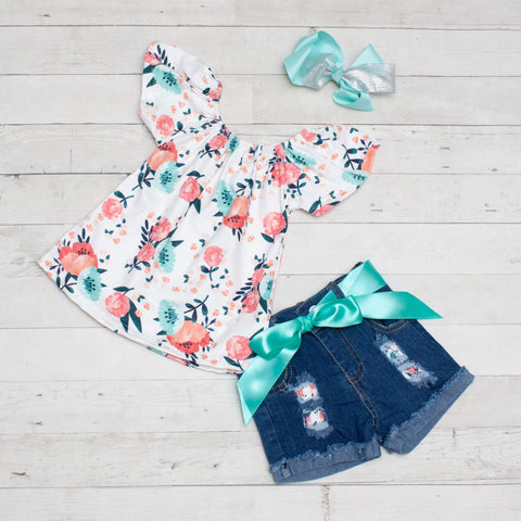 Mint and Coral Floral Top and Jean Shorts Set