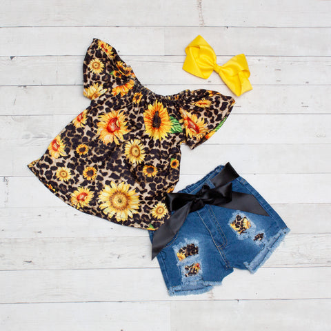 Cheetah and Sunflowers Floral Top and Jean Shorts Set