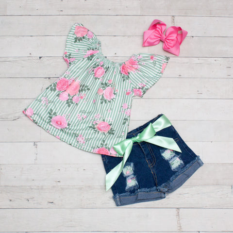 Mint Stripes and Pink Floral Top and Jeans Shorts Set