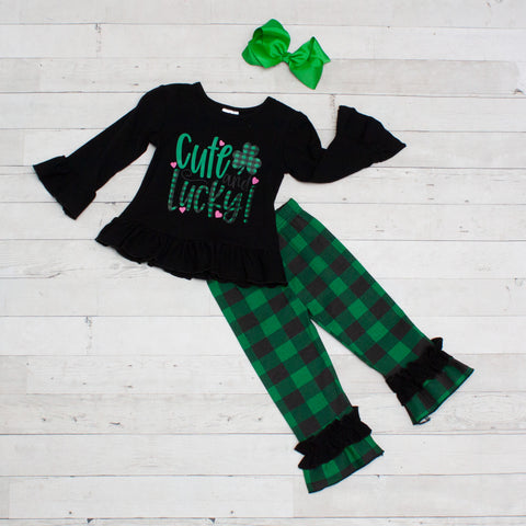 St. Patrick's Cute and Lucky 2 Piece Plaid Outfit