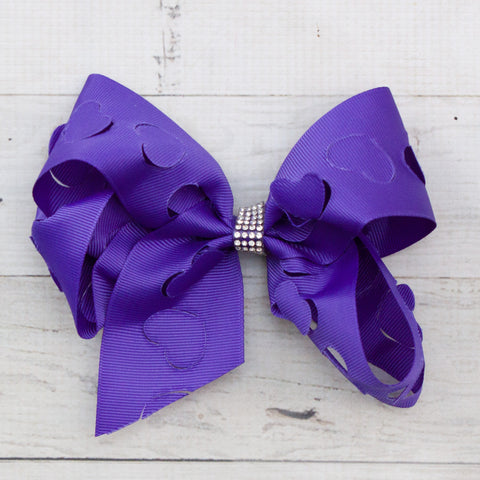 "6"" Heart Cut Out Grosgrain Hair Bow - 7 Colors"