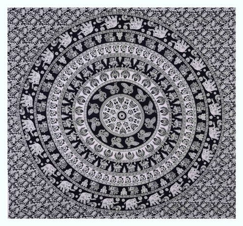 "90"" Square Indian Mandala Beach Throw - Black & White Circle Pattern with Elephants"