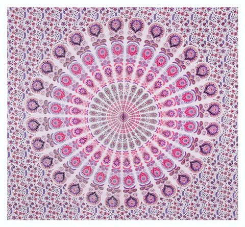 "90"" Square Indian Mandala Beach Throw - Shades of Pink, Blush & Lavender Circle Pattern"