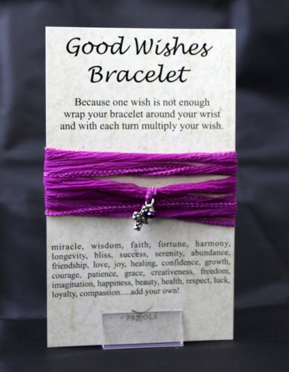 Good Wishes Cross Silk Wrap Bracelet