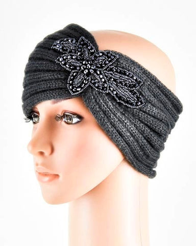 Gray Womens Crochet Head Wrap With Flower
