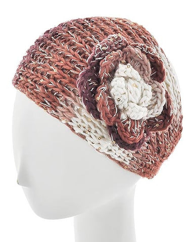 Copper Womens Crochet Head Wrap With Crochet Flowers