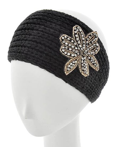 Black Womens Crochet Head Wrap With Large Applique Flower