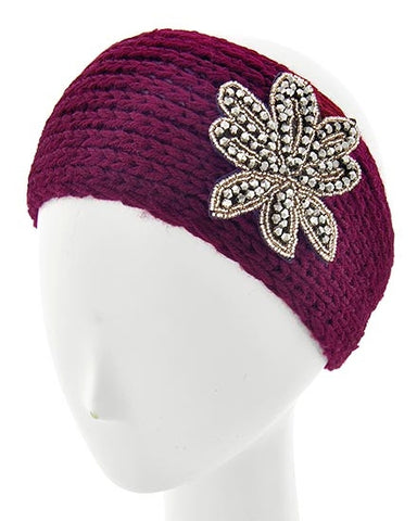 Burgundy Womens Crochet Head Wrap With Applique Flower