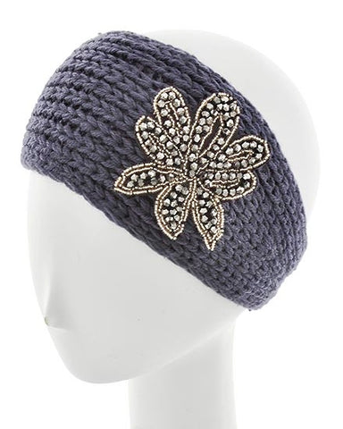 Gray Womens Crochet Head Wrap With Applique Feather Flower