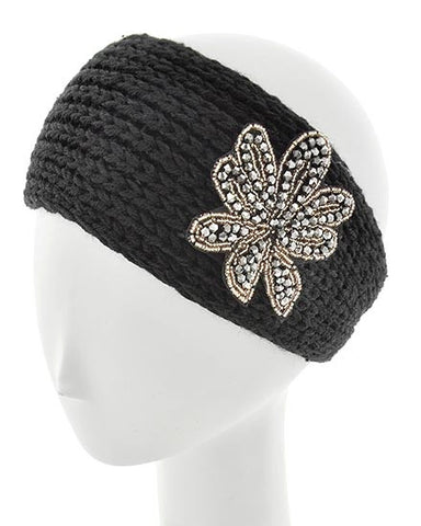 Black Womens Crochet Head Wrap With Applique Flower