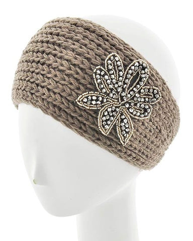 Light Brown Womens Crochet Head Wrap With Applique Flower