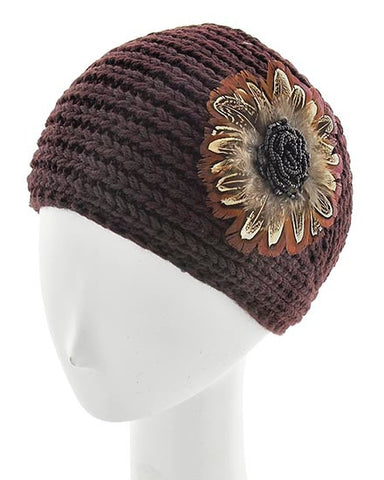 Brown Womens Crochet Head Wrap With Applique Feather Flower