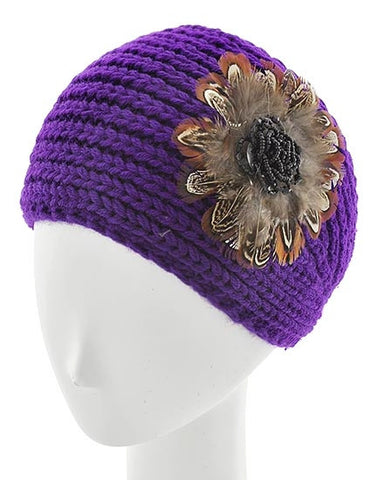 Purple Womens Crochet Head Wrap With Applique Feather Flower