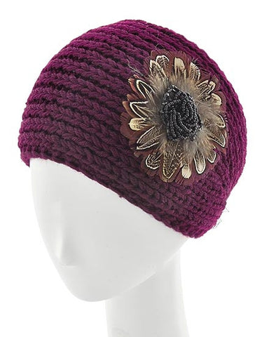 Burgundy Womens Crochet Head Wrap With Applique Feather Flower