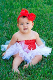 White & Red Tutu Set - Tutu, Crochet Top & Headband