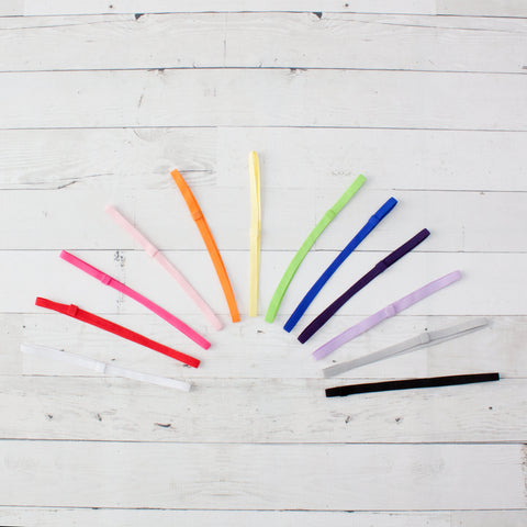"Dozen 1/4"" Skinny Elastic Headbands Solid or Assortment"