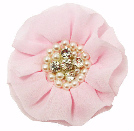"Pearl & Rhinestone Embellished 3.5"" Chiffon Flower- Set of 2"