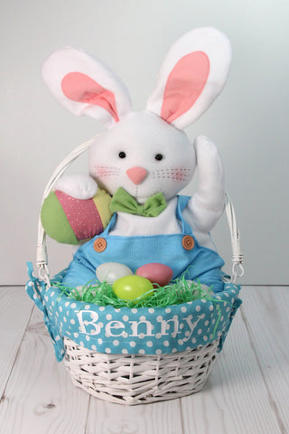 Polka Dot Fabric Lined Easter Baskets with Folding Handle