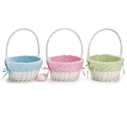 Easter baskets wholesale princess double dot fabric lined easter baskets with folding handle negle Gallery