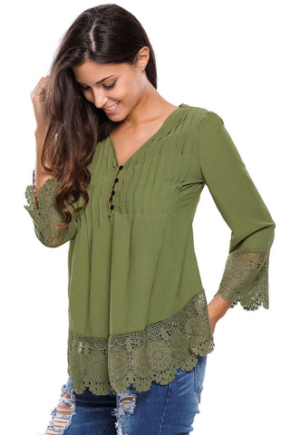 Lace Detail Button Up Sleeved Blouse