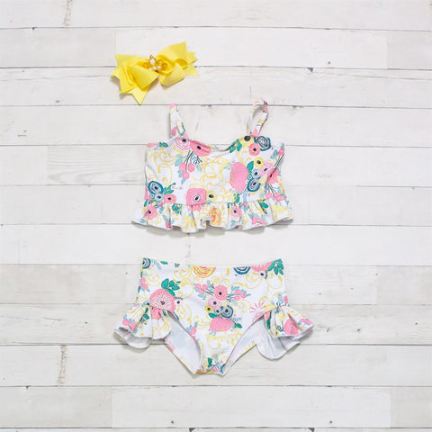 Pink, White, Yellow & Green Floral Two-Piece Ruffle Swimsuit - Beachy
