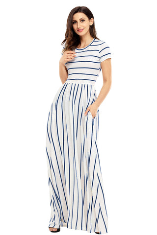 White with Blue Stripes Short Sleeve Maxi Dress