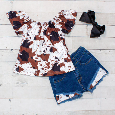 Cowhide Pattern Top and Jean Shorts Set