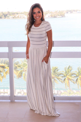 White with Gray Stripes Short Sleeve Maxi Dress