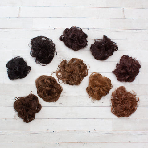 Messy Buns - Synthetic Hair Scrunchies - Brunette/Dark Hair Colors