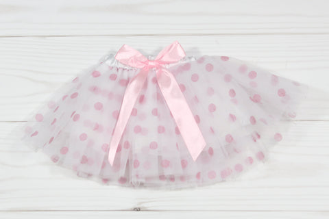 Girls Polka Dot Elastic Dance Tutu