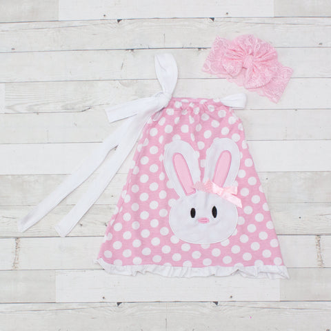 Pink With White Polka Dots Pillowcase Dress With Bunny Applique