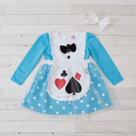 Girls Character Inspired Long Sleeve Dress - Alice In Wonderland
