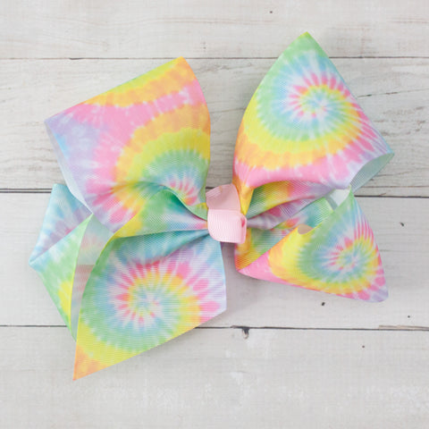 "8"" Rainbow Tie Dye Print Hair Bow Clip"